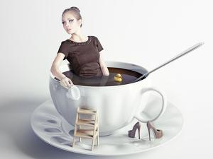 Little Beautiful Woman Takes a Bath in Cup of Coffee (Creative Concept) by viczast