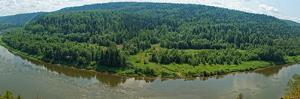 Panoramic View of Siberian Taiga Landscape at Summer by viczast