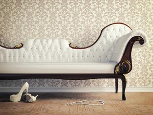 Vintage Sofa and Wallpaper Wall by viczast