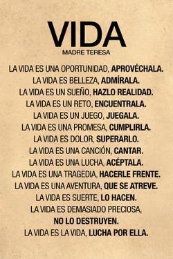 Vida por Madre Teresa Poema Plastic Sign