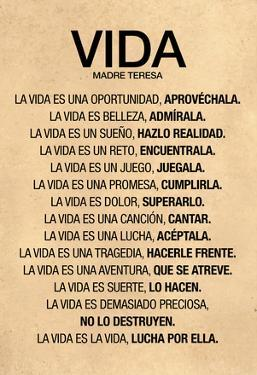 Vida por Madre Teresa Poema