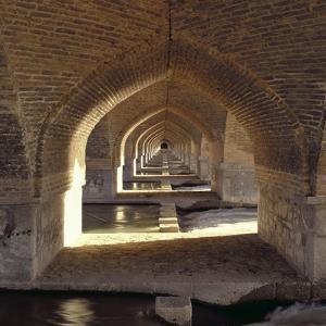 View Along the Inside of the Khaju Bridge Dam, Safavid Period