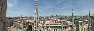 View from roof of the Duomo di Milano, Milan, Lombardy, Italy