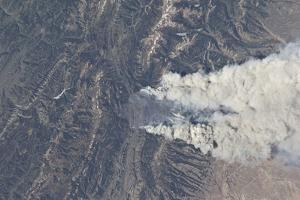 View from Space of the Fontenelle Fire Burning in Wyoming