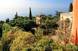View from Villa Hanbury at Hanbury Botanic Gardens near Ventimiglia, Liguria, Italy