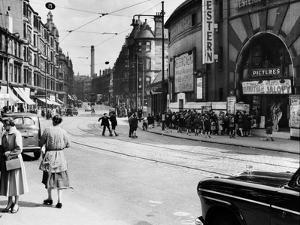 View Looking East Along Dumbarton Road to Partick Cross, 1955