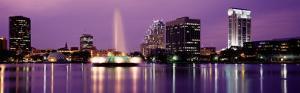 View of a City Skyline at Night, Orlando, Florida, USA