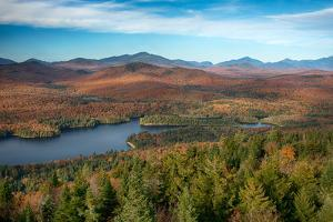View of a lake from Goodnow Mountain, Adirondack Mountains State Park, New York State, USA