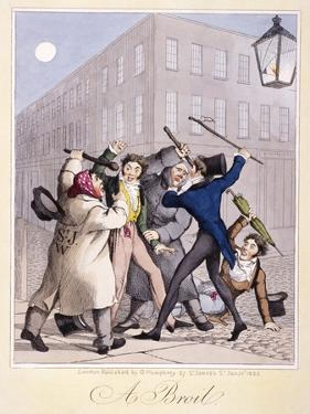 View of a Street Fight Scene at Night, City of Westminster, London, 1822