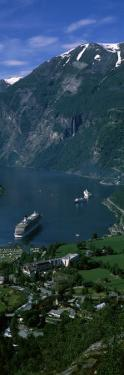 View of a Town at the Coast, Geiranger Fjord, Geiranger, More Og Romsdal, Norway