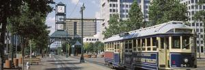 View of a Tram Trolley on a City Street, Court Square, Memphis, Tennessee, USA
