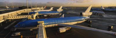 View of Airplanes at an Airport, Amsterdam Schiphol Airport, Amsterdam, Netherlands