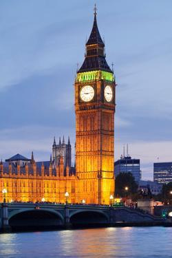 View of Big Ben and Houses of Parliament with Westminster Bridge at Thames River