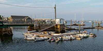 View of boats at a harbor, Rockland Harbor, Rockland, Knox County, Maine, USA