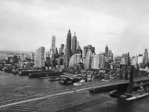 View of Brooklyn Bridge with New York City Skyline in Background