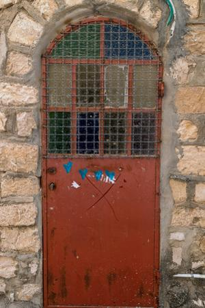 View of closed door, Safed (Zfat), Galilee, Israel