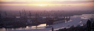 View of Container Ships in River, Elbe River, Landungsbrucken, Hamburg Harbour, Hamburg, Germany
