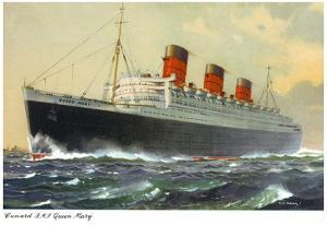 View of Cunard Ocean Liner Queen Mary