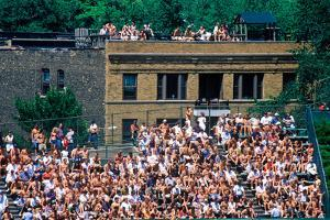 View of full bleachers, full of fans during a professional Baseball Game, Wrigley Field, Illinois