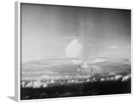 View of Hydrogen Bomb Mushroom Cloud Rising--Framed Photographic Print