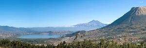 View of Lago del San Pablo and Imbabura volcano from terrace Sacha Ji, Imbabura Province, Ecuador