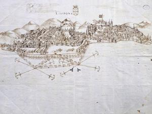 View of Lisbon, 1596, Portugal 16th Century Drawing