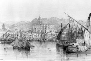 View of Malaga, from 'spanish Scenery' by George Vivian, Published 1838