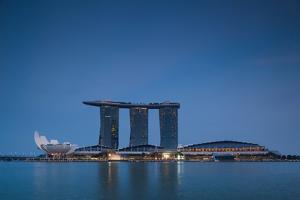 View of Marina Bay Sands Hotel from Marina Reservoir, Marina Bay, Singapore