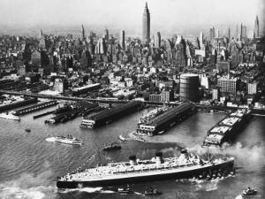 View of New York City Skyline with the S.S. Queen Mary Docking at the 51st Street Pier