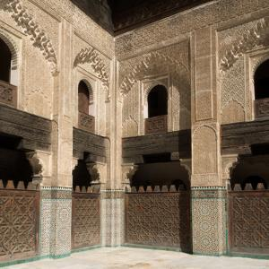 View of Part of Cloister and Courtyard of Bou Inania Madrasa, Fes, Morocco