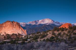 View of Pikes Peak at dawn, Garden of the Gods, Colorado Springs, Colorado, USA