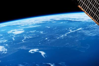 View of planet Earth from space showing New England and North Atlantic Ocean, USA