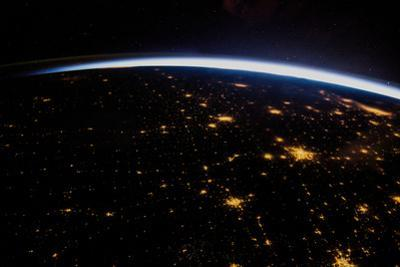 View of planet Earth from space showing night over Texas, USA