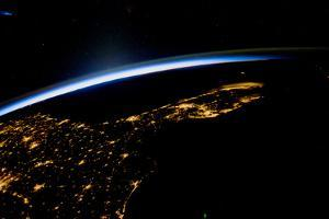 View of planet Earth from space showing night time in Florida Sate, USA