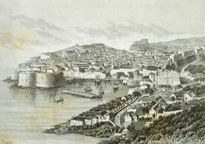 View of Ragusa, Modern Day Dubrovnik from the Universal Geography by Elisee Reclus, Croatia
