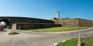 View of rampart around Galle and New Fort Entrance, taken from Custom Road, Galle Fort, Galle, S...