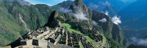 View of Ruins of Ancient Buildings, Inca Ruins, Machu Picchu, Peru