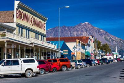 View of Seward, Alaska storefronts
