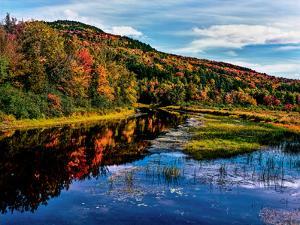 View of small lake north of Saranac Lake, Adirondack Mountains, New York State, USA