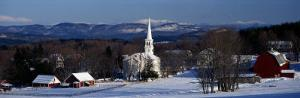 View of Small Town in Winter, Peacham, Vermont, USA