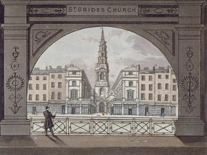 View of St Bride's Church, Fleet Street, Through an Archway, City of London, 1820