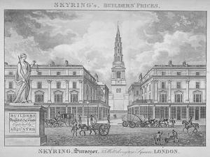View of St Bride's Church, Fleet Street, Through St Bride Avenue, City of London, 1830