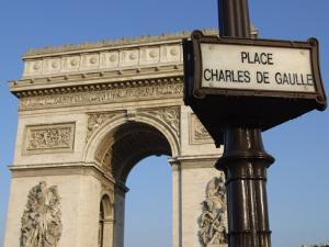 View of the Arc De Triomphe with Sign for Place Charles De Gaulle in Paris, France