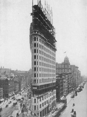View of the Flatiron Building under Construction in New York City