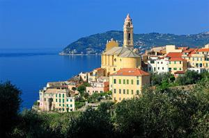 View of the Medieval Old Town of Cervo, Province of Imperia, Liguria, Italy