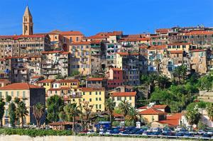 View of the Old Town of Ventimiglia, Province of Imperia, Liguria, Italy