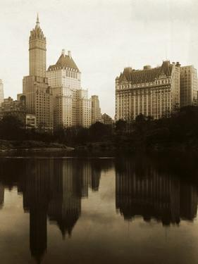 View of the Plaza Hotel, the Savoy Hotel and the Sherry-Netherland Hotel Reflected in the Water