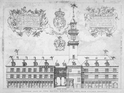 View of the Royal Exchange with Coats of Arms Above, City of London, 1569