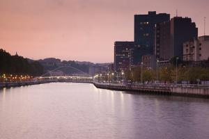 View of the Zubizuri bridge on Nervion River at dawn, Biscay Province, Basque Country Region, Spain