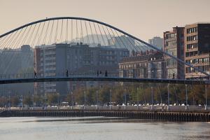View of the Zubizuri bridge on Nervion River, Bilbao, Biscay Province, Basque Country Region, Spain